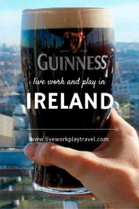 Pinterest Pin Pint of Guinness With View Over Dublin Behind.