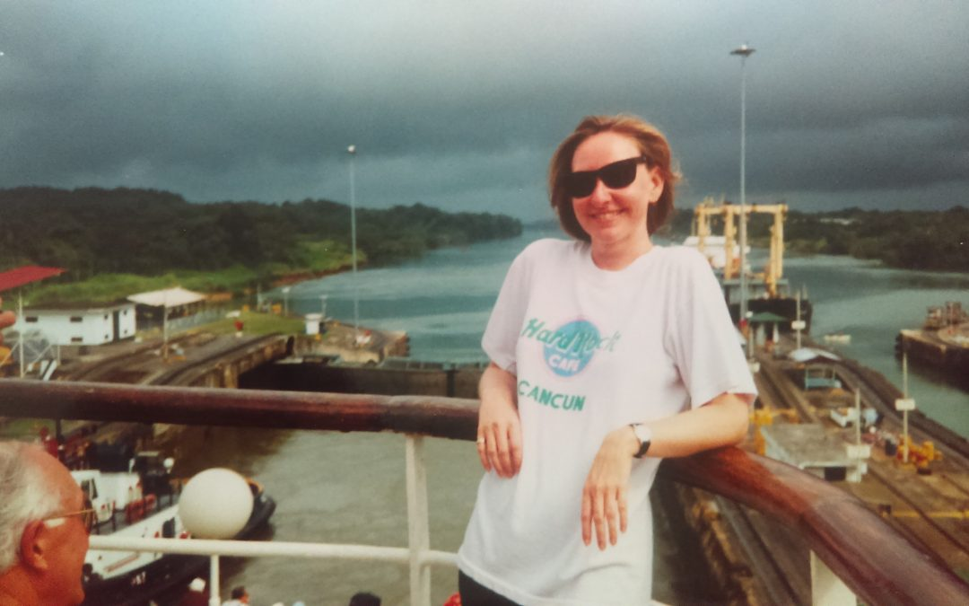 Sharyn McCullum Sailing Through The Panama Canal With Storm Chasing Boat.