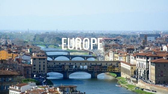 Bridges Over A European River With The Word Europe.