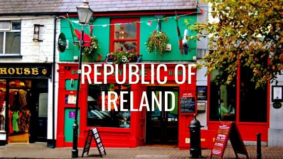 Red And Green Pub Facade With The Words Republic Of Ireland.