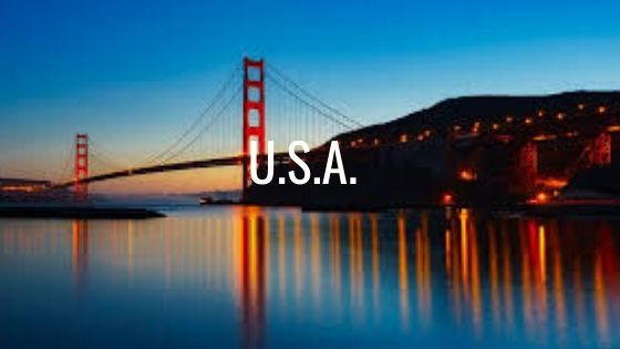 The Golden Gate Bridge, San Francisco At Sunset With The Letters U.S.A.