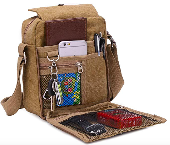 Brown Suade Messenger Bag With Phone, Pens And Other Items.