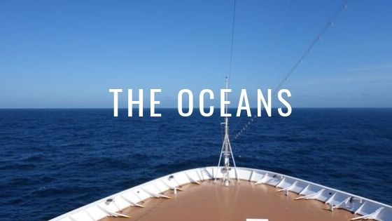 Bow Of An Ocean Liner With The Ocean Behind It With The Words The Oceans.