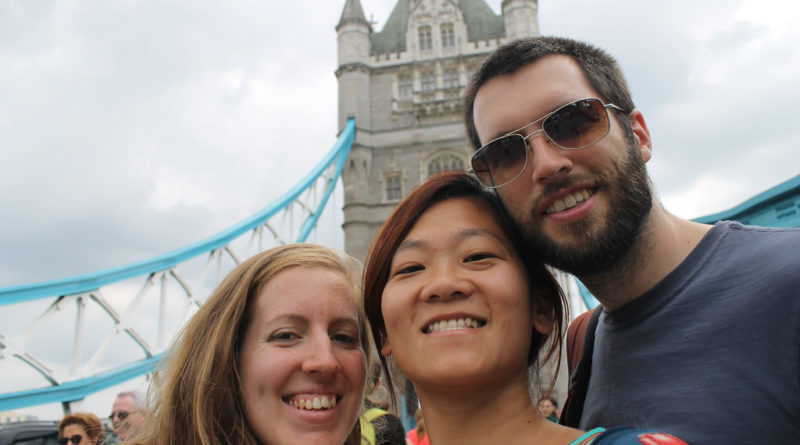 Three Young People Standing In Front Of Tower Bridge, London.