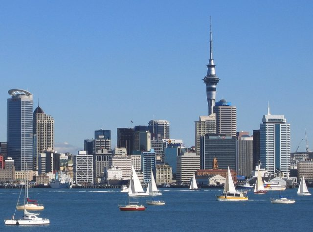 Auckland City With Tall Buildings On A Beautiful Harbour.