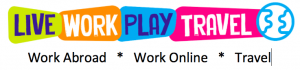 Live Work Play Travel World Logo to Work Abroad Work Online and Travel
