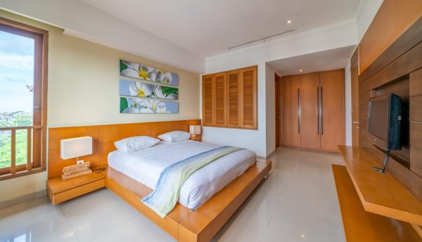 A Room In A Co-Living Space With A Double Bed In A Room With TV in Bali.