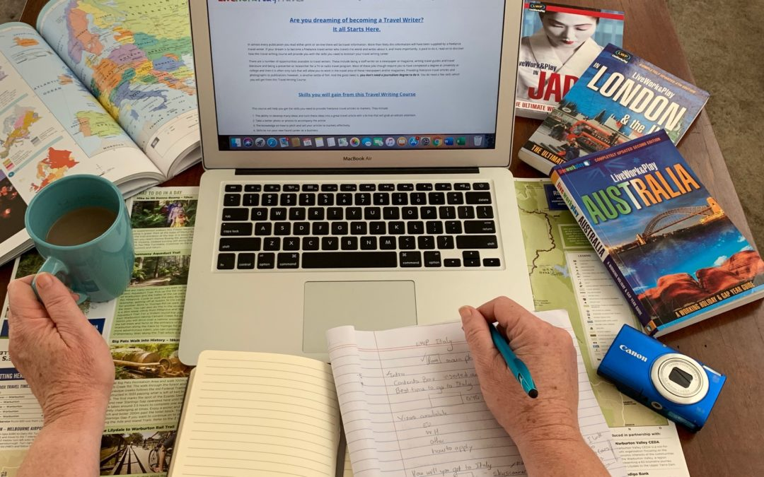 To Be A Travel Writer Writing Blog Posts, Ebooks And Travel Guides You Need A Laptop, Pen and Writing Materials To Make Notes.