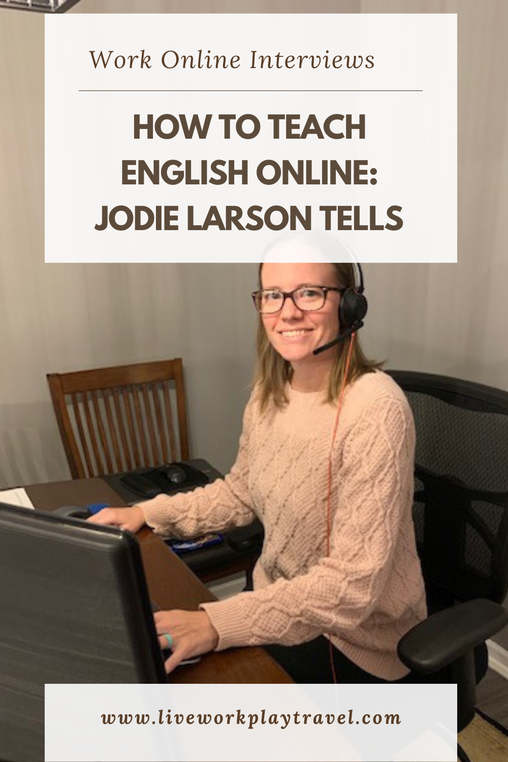 Jodie Larson teaching English online. Sitting at her desk teaching.
