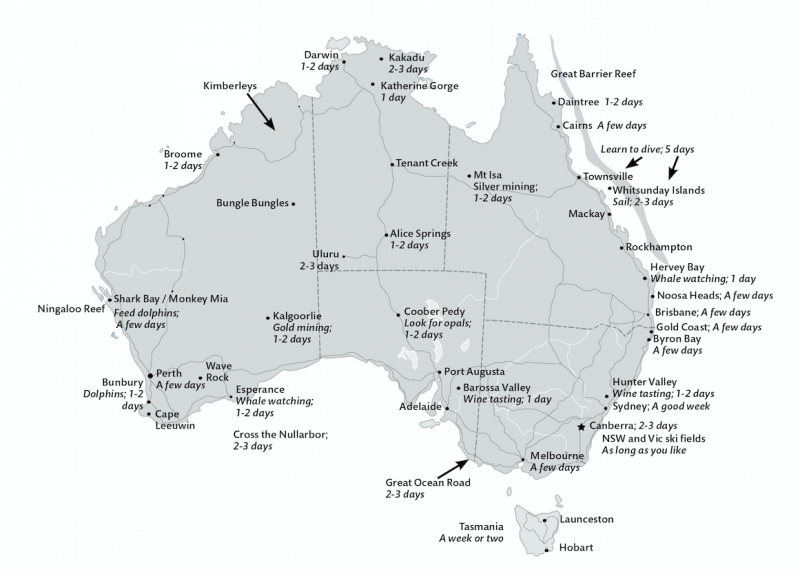 Map Of Australia Highlight Towns and Cities To Visit And How Long To Visit.