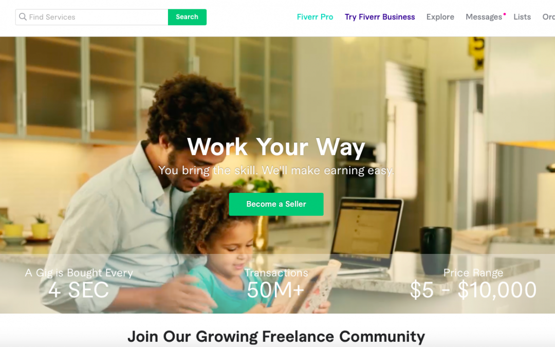 Fiverr Website Page Showing A Man Sitting At His Laptop In His Kitchen With His Child Walking By.