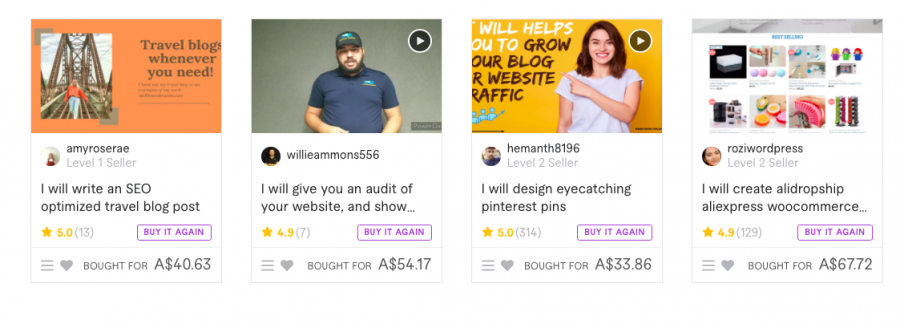Four Fiverr Gigs Showing Profiles Of Sellers.