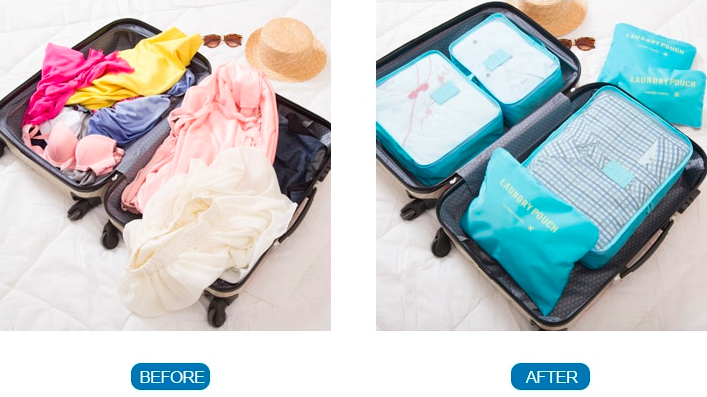 Packing Cubes. A Messy Suitcase With Clothes Every Where. Pack Your Clothes In Packing Cubes And Your Luggage Is Transformed Into An Organised Bag.