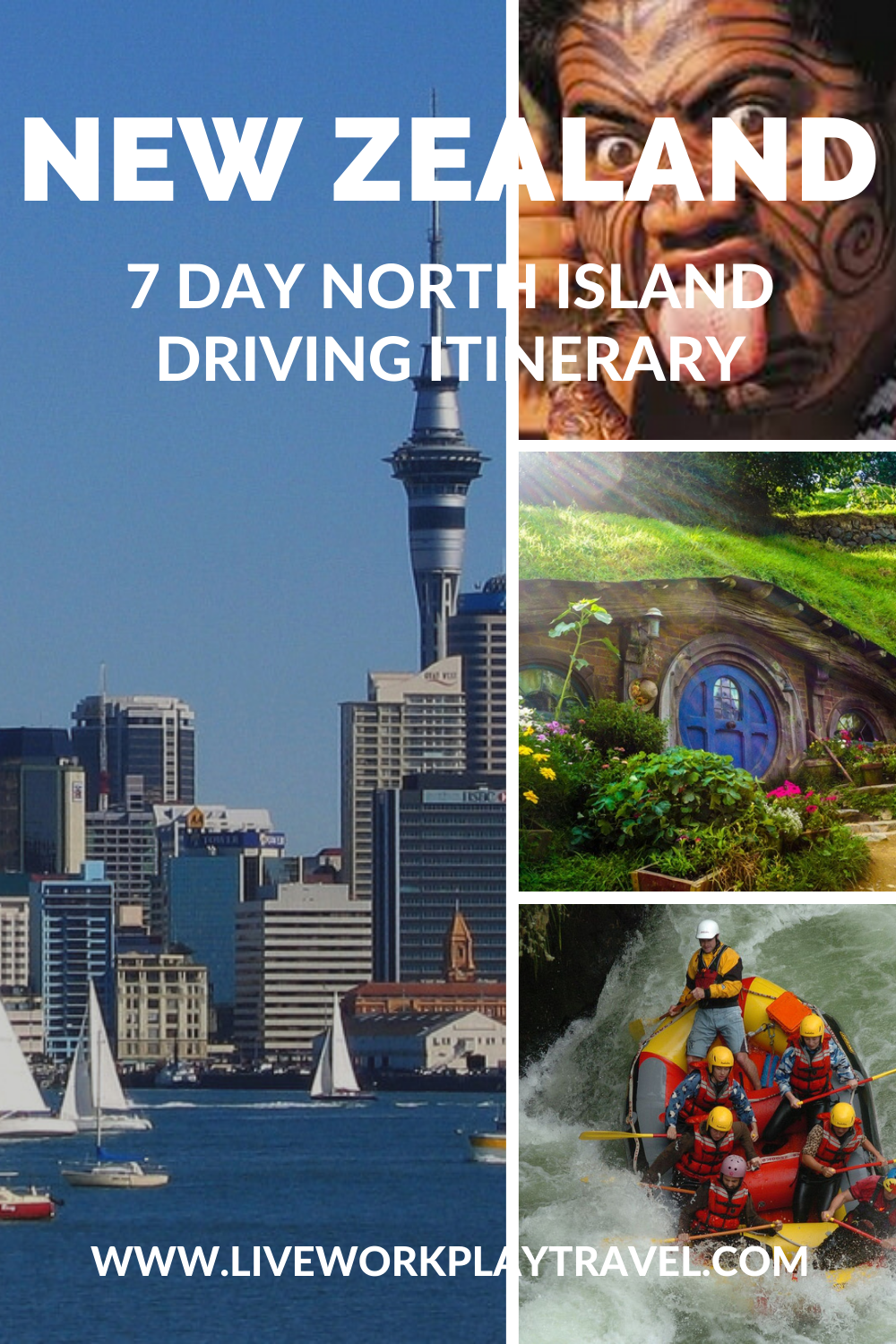New Zealand North Island Collage. Auckland City From The Harbour, A Maori With His Tongue Out, Hobbiton House Door, White Water Rafting.