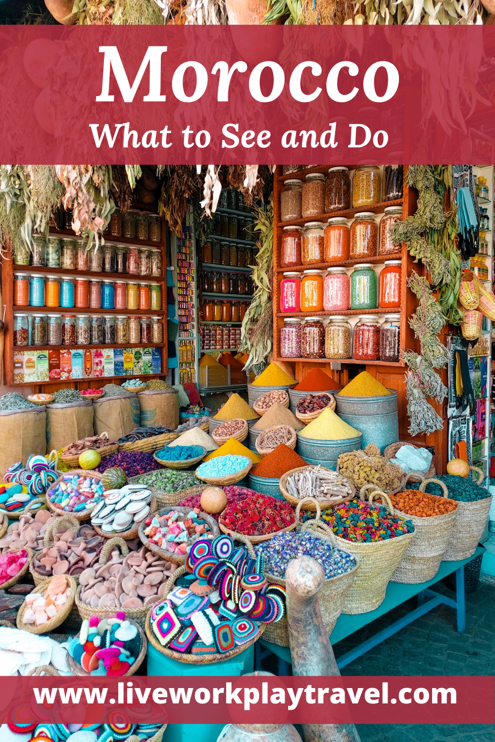 Morocco Has Many Markets With Colourful Spices.