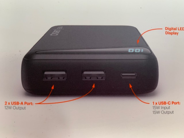 Power Bank USB ports. 2 Output And 1 Input And Output.