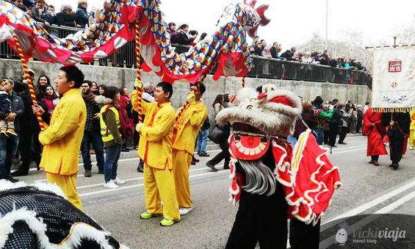 Chinatown In Barcelona Like All Chinatowns Celebrates Chinese New Year With A Parade And Dragons.