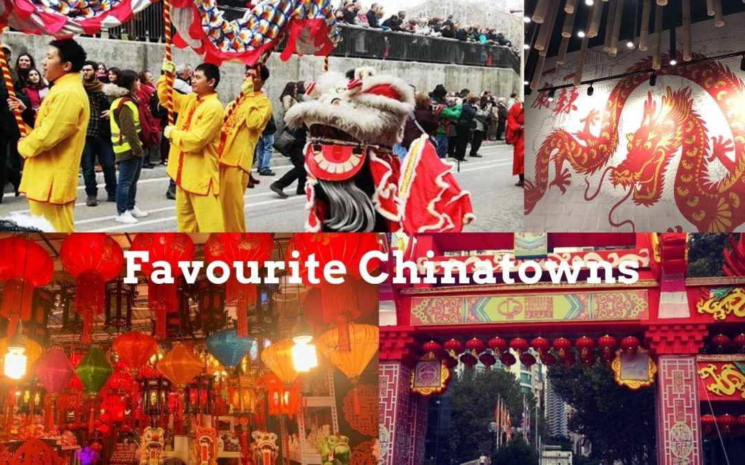 Favourite Chinatowns From Around The World. Chinatown With Celebrations Of Dancing Dragons, Red Lanterns Hanging And People Enjoying Great Chinese Traditional Food.