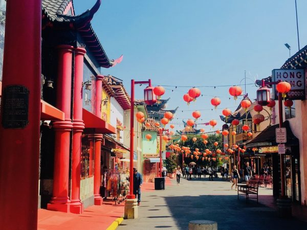 Chinatown Los Angeles Has Many Chinese Red Lanterns Hanging From Structures like Many Chinatowns Around The World.