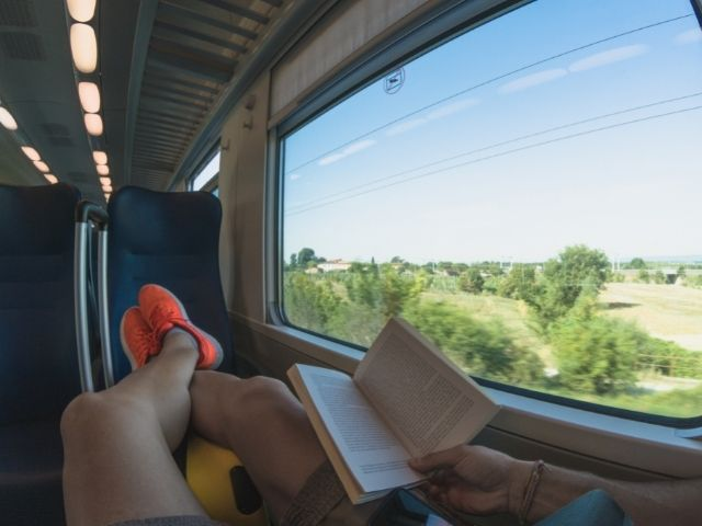 Person On A Train Reading A Book While The European Countryside Flies By.