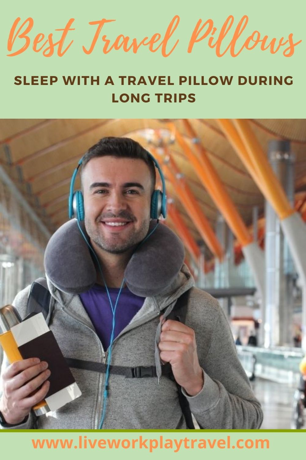 Man At Airport Wearing Travel Pillow For Comfort.