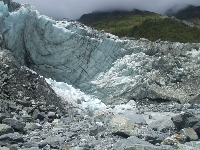 Franz Josef Glacier On New Zealand's South Iceland Is One Of The Many Glaciers Made From Ice That You Can Visit.