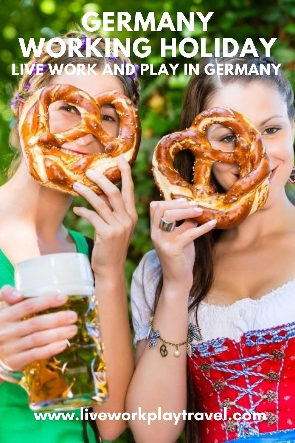 Two Girls Dressed In Traditional German Clothes Drinking Beer And Enjoying A Pretzel On Their Germany Working Holiday.