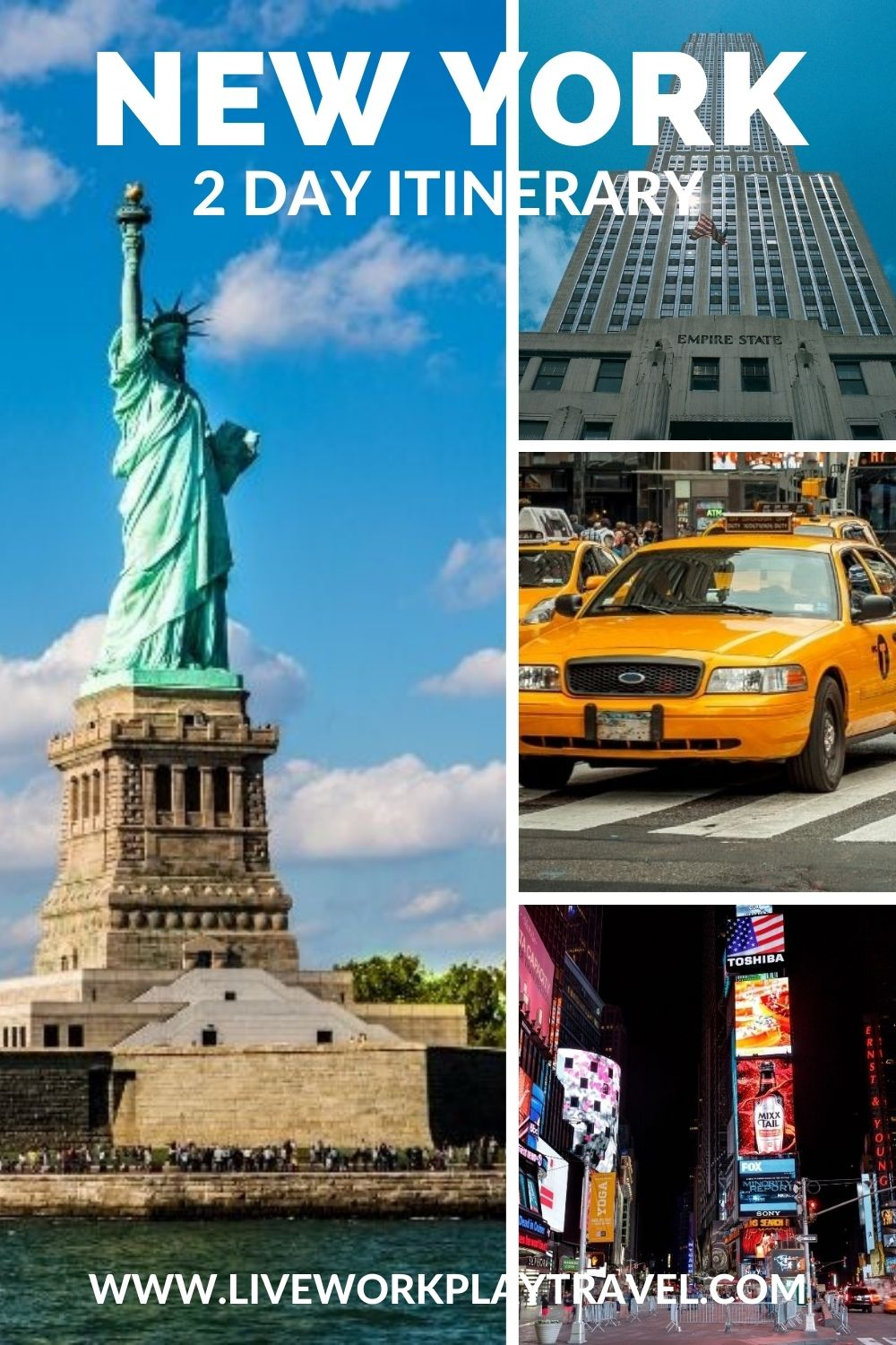 New York Pin. Statue Of Liberty, Yellow Cabs, Central Park, Times Square And The Empire State Building Are Just Some Iconic Things To See When In New York On A 2 Day Itinerary.