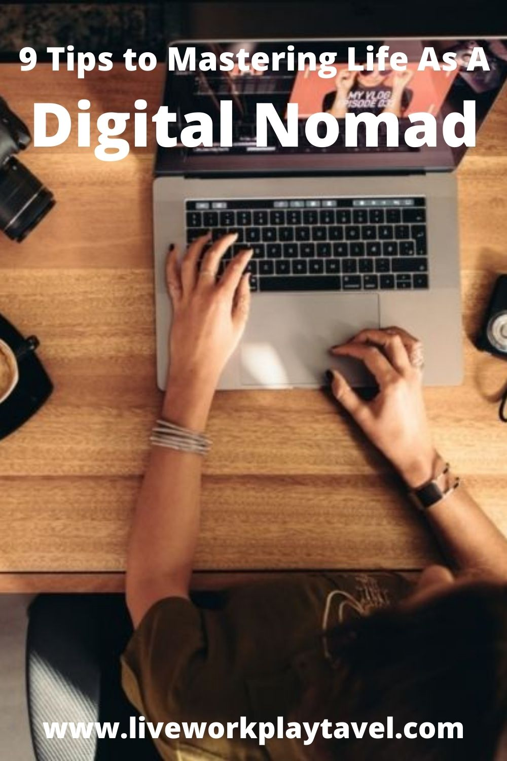 Female Digital Nomad With Her Gear Set Up.