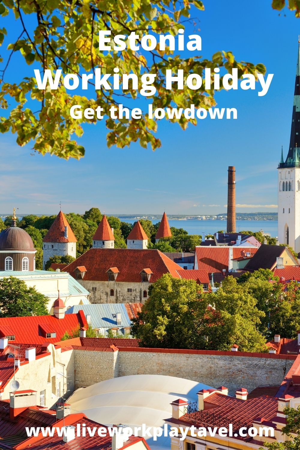 Beautiful Tallinn Skyline With Spired Buildings To Discover On Your Estonia Working Holiday.