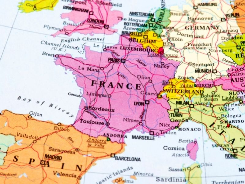 Map of France. France Is Pink On This Map. This Map Shows Where France Is In Europe.