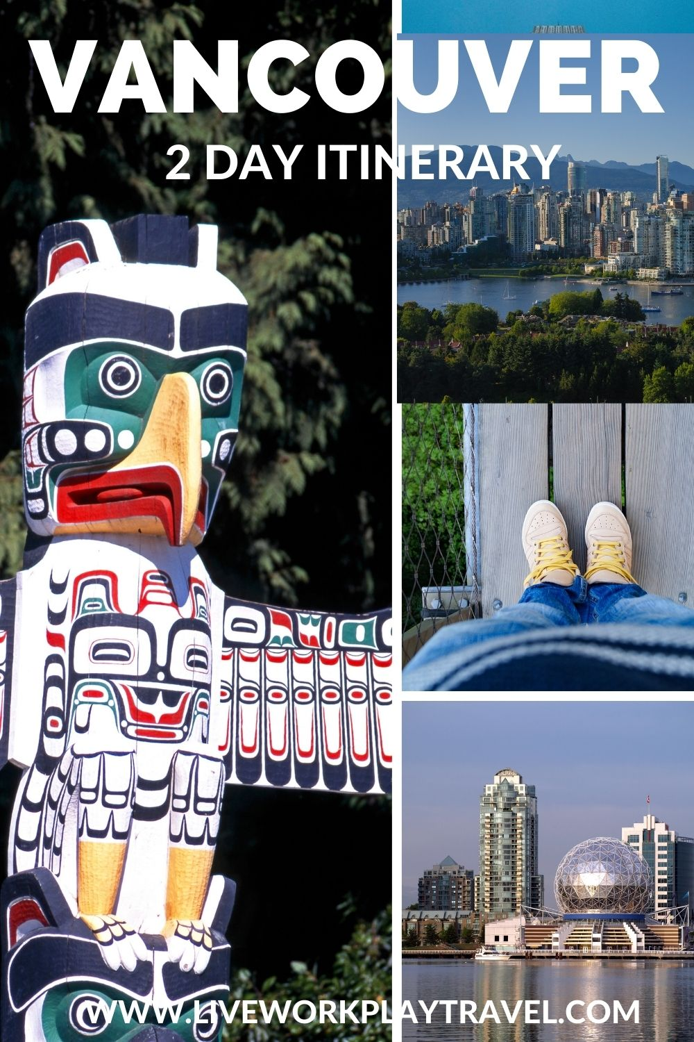 Vancouver Has Lots To See. Totem Poles In Stanley Park. Capilano Suspension Bridge. Views Over Vancouver City Surrounded By Snow Capped Mountains.