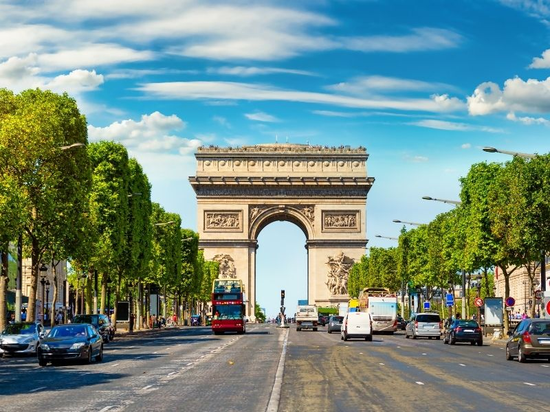 Arc de Triumph At The End Of The Champs Elysee.