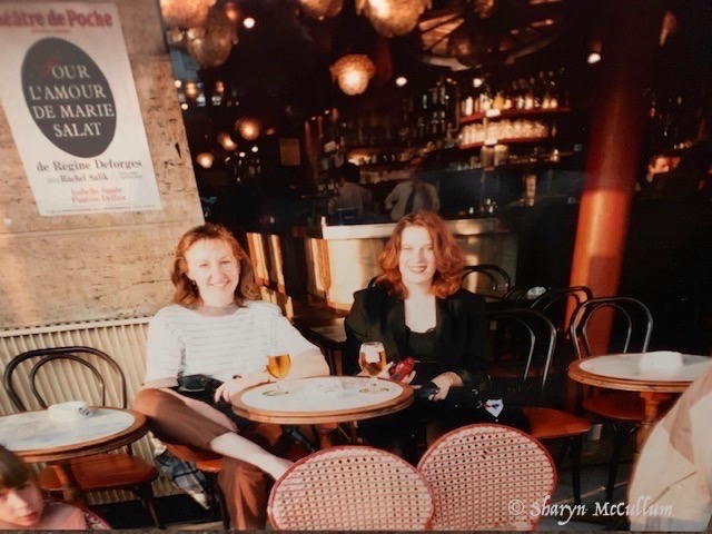 Sharyn Sitting In A Paris Cafe With A Beer.